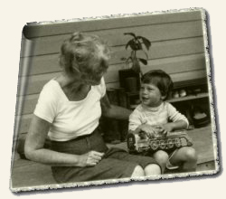 Barbara Moore & grandson Kimo, Jonestown, May 1978