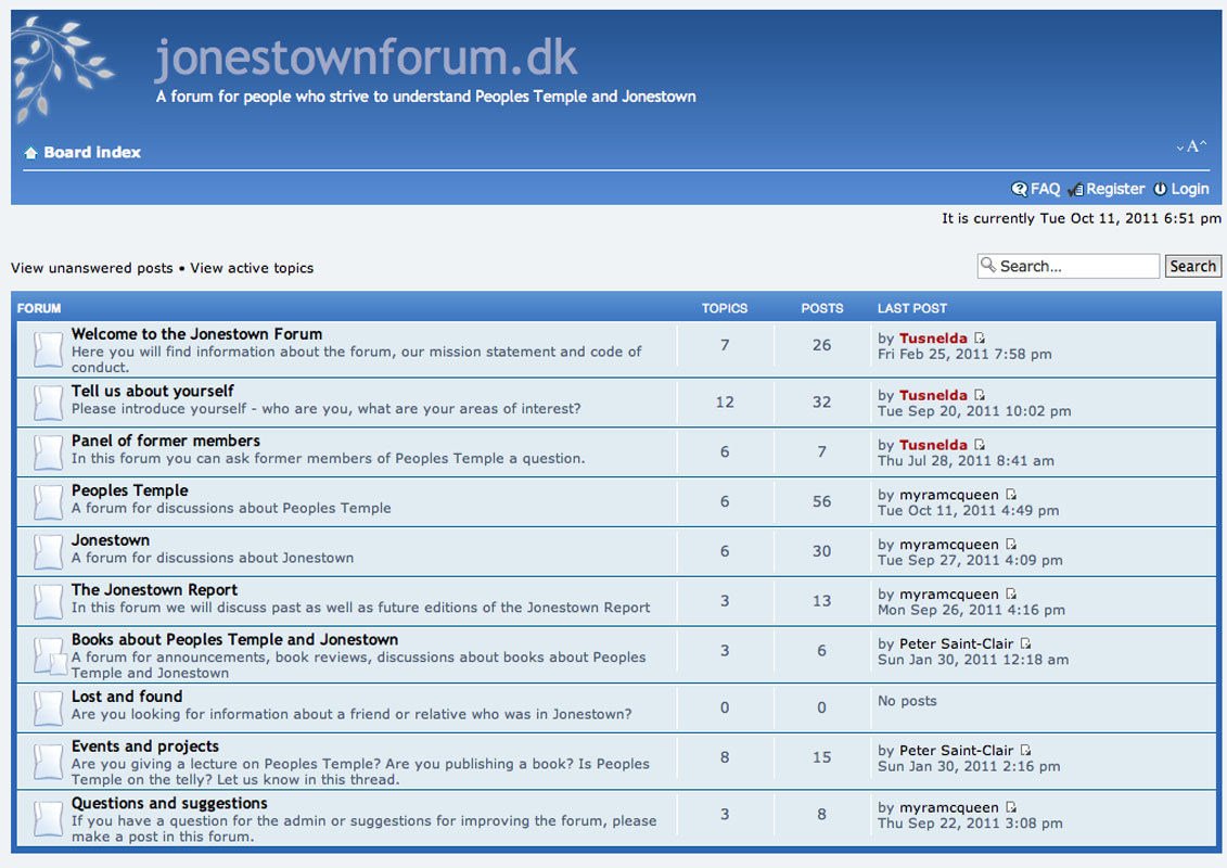 Opinions on Internet forum