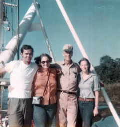 On board the Cudjoe. L to R, Jerry Livingston, Claire Janaro, Jack Barron, Terry Carter