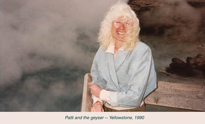 Patti and the geyser - Yellowstone 1990