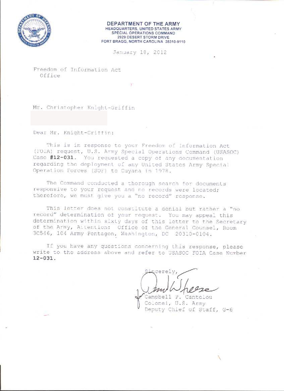 FOIA Request Update: The United States Army Special